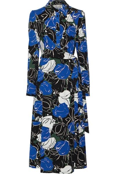 Sana printed stretch-jersey midi wrap dress