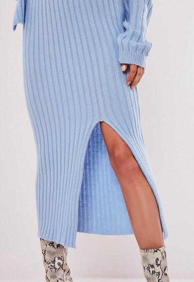 Blue Co Ord Front Split Knitted Midi Skirt