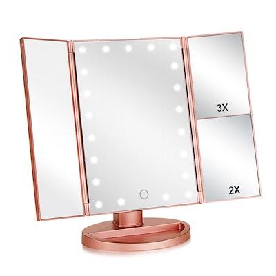 Wudeweike Tri-fold Lighted Vanity Makeup Mirror