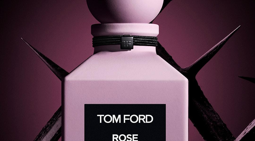 Tom Ford's new Rose Prick fragrance in bottle.