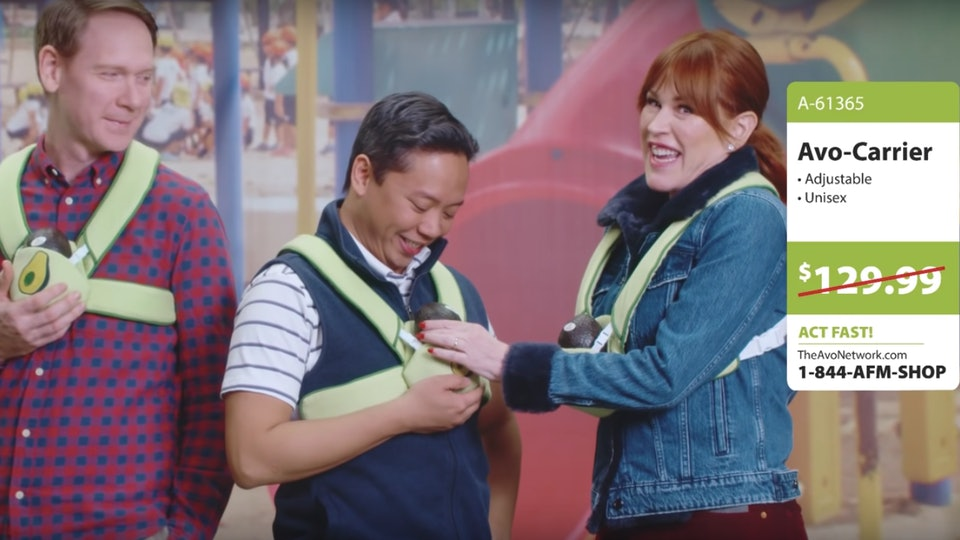 Molly Ringwald's avocado commercial included avocado baby carriers