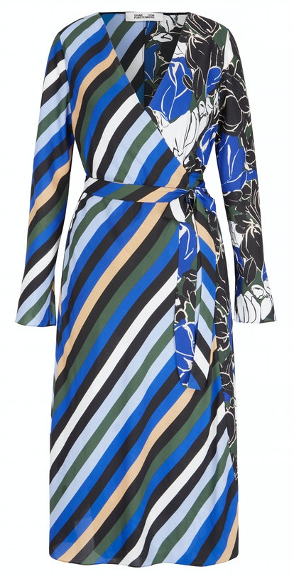 Tilly paneled printed crepe de chine midi wrap dress