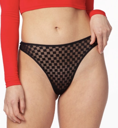 High-Cut Thong In Blackjack Checkers