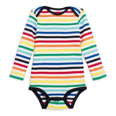 Long sleeve rainbow stripe babysuit