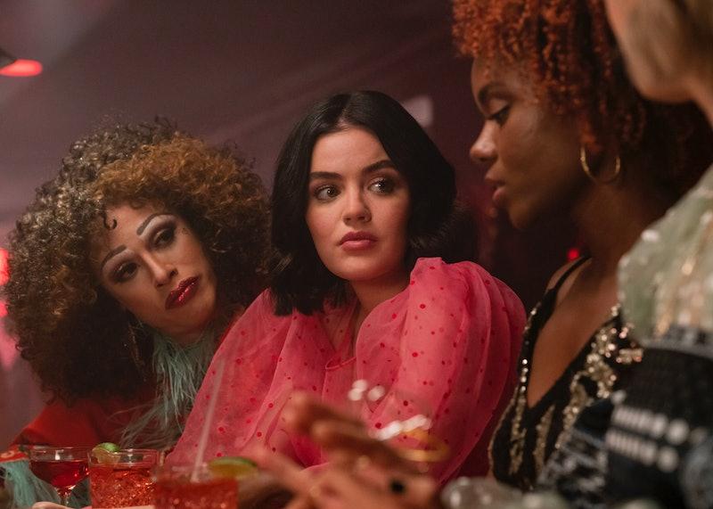 Jonny Beauchamp as Ginger, Lucy Hale as Katy Keene and Ashleigh Murray as Josie McCoy in Katy Keene