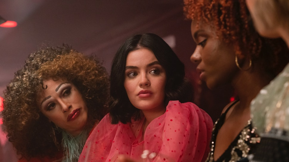 Jonny Beauchamp as Ginger, Lucy Hale as Katy Keene and Ashleigh Murray as Josie McCoy in Katy Keene