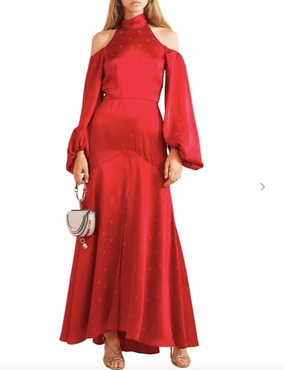 Betty cold-shoulder tie-neck satin-jacquard gown