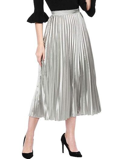Allegra K Pleated Midi Skirt