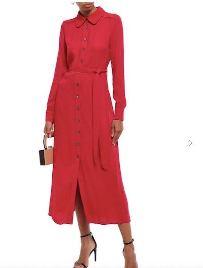 Geneva belted crepe midi shirt dress