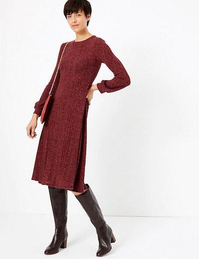 Jersey Cuff Sleeve Swing Midi Dress