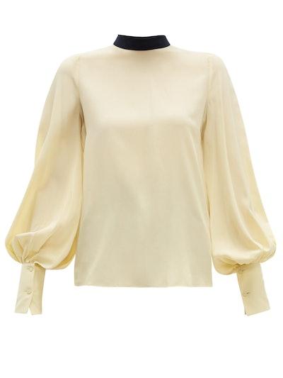 Cala Bishop-Sleeve Silk Crepe de Chine B louse