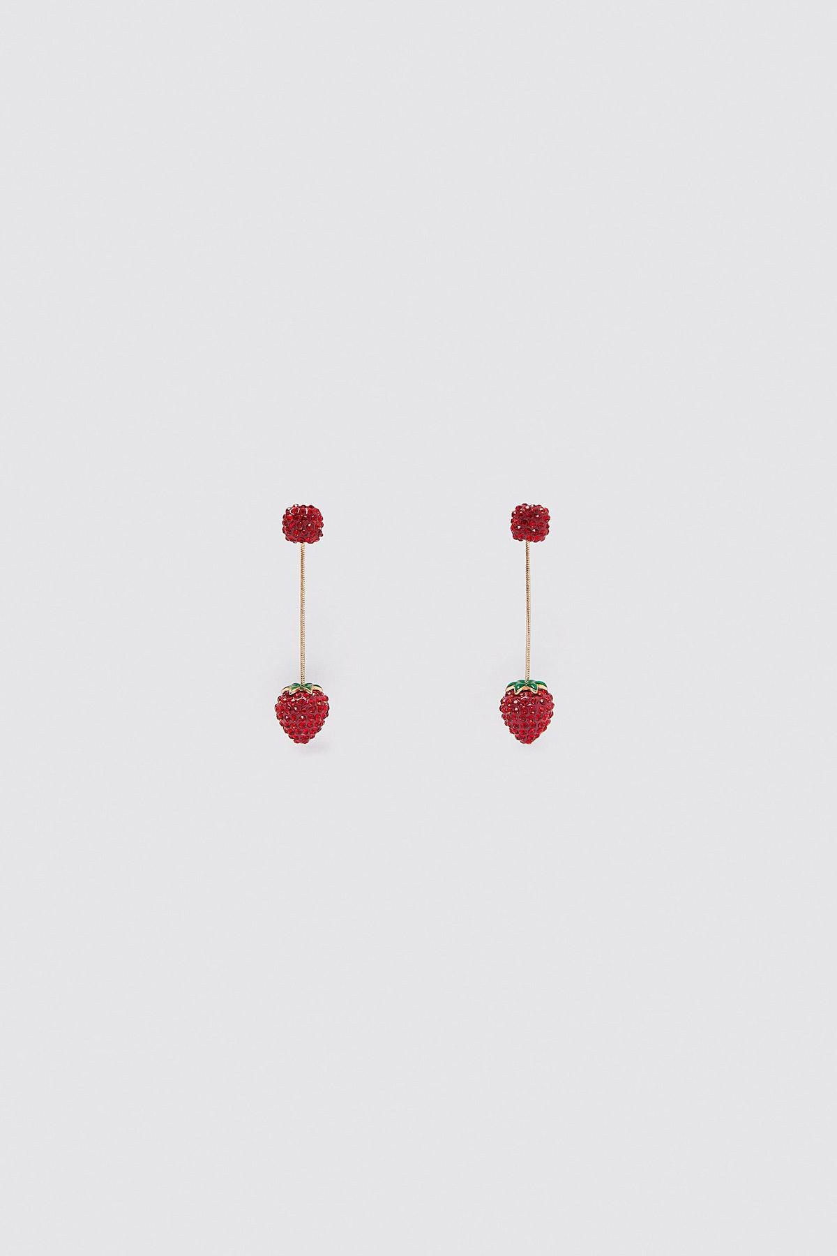 Zara Long Strawberry Earrings