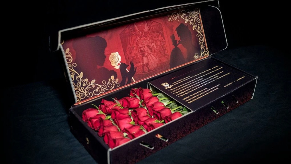 Two dozen roses sit in a black 'Beauty and the Beast'-themed box as part of the Roseshire x Disney collection.