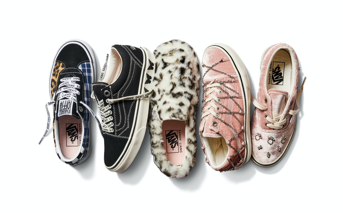A collage showcasing all the shoes available in the new Vans x Sandy Liang collection