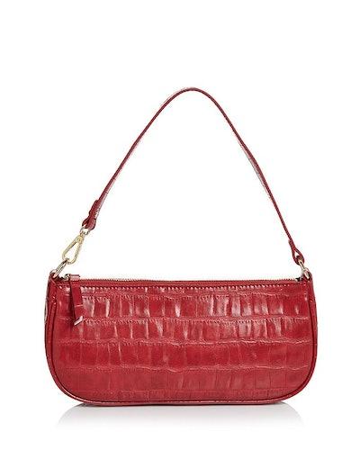 Croc-Embossed Shoulder Bag