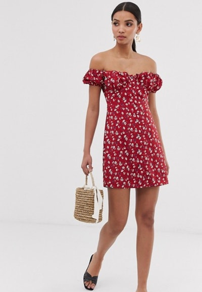 Fashion Union bardot mini dress with ruched bust in floral