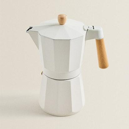 Aluminum & Wood Coffee Pot