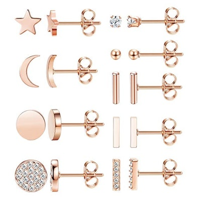 FIBO Stainless Steel And CZ Stud Earring Set (9 Pairs)
