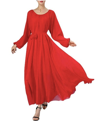 BUENOS NINOS Women's Long Sleeve Crew Neck Loose Chiffon Long Maxi Dress with Belt