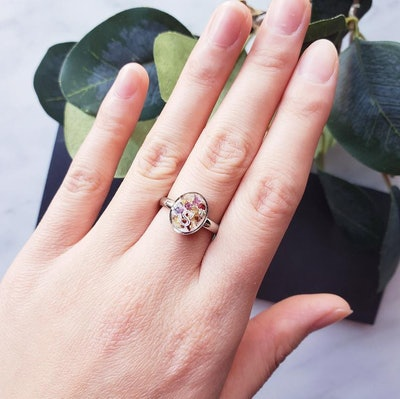 Pressed Flower Ring Ring