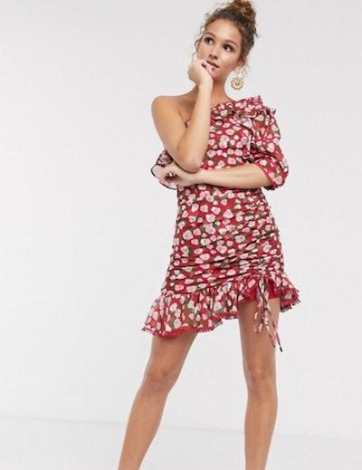 Dark Pink one shoulder ruched side mini dress in red ditsy floral