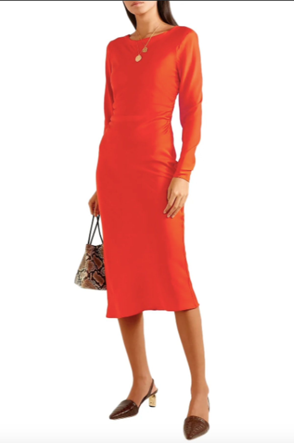 Tondio ruched stretch silk-satin midi dress