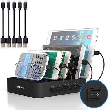 MSTJRY 5 Ports Charging Station Black USB Charging Station with 5 Short Cables