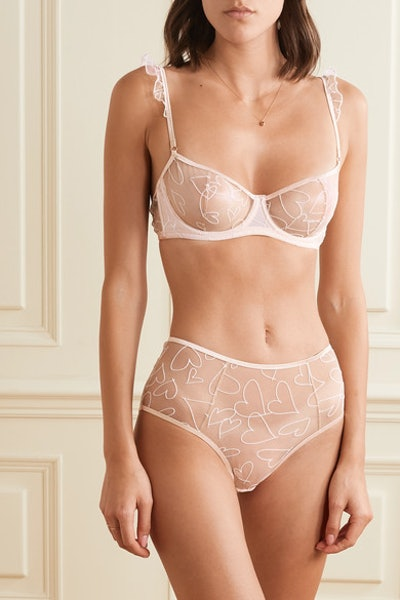 Le Petit Trou Muret cutout embroidered stretch-tulle briefs