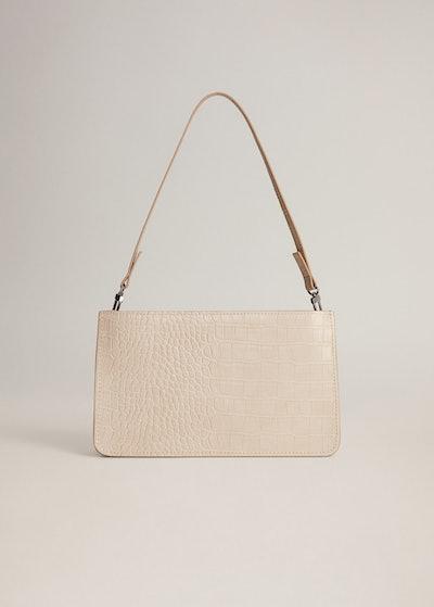 Croc-Effect Baguette Bag