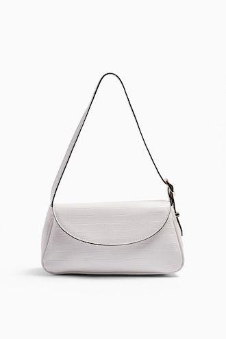 Eve White Buckle Shoulder Bag
