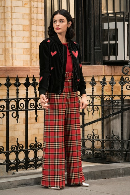 Katy Keene's numerous fashion looks incorporate red, pink, and hearts.