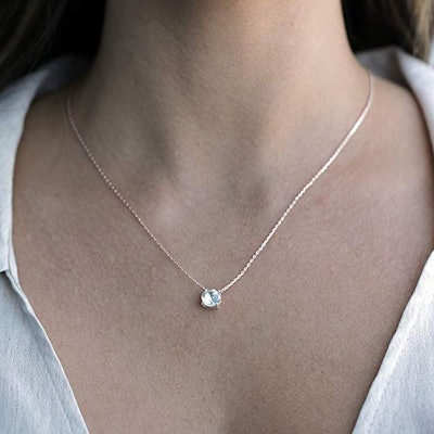 PAVOI 14K Gold Plated Swarovski Crystal Solitaire Necklace