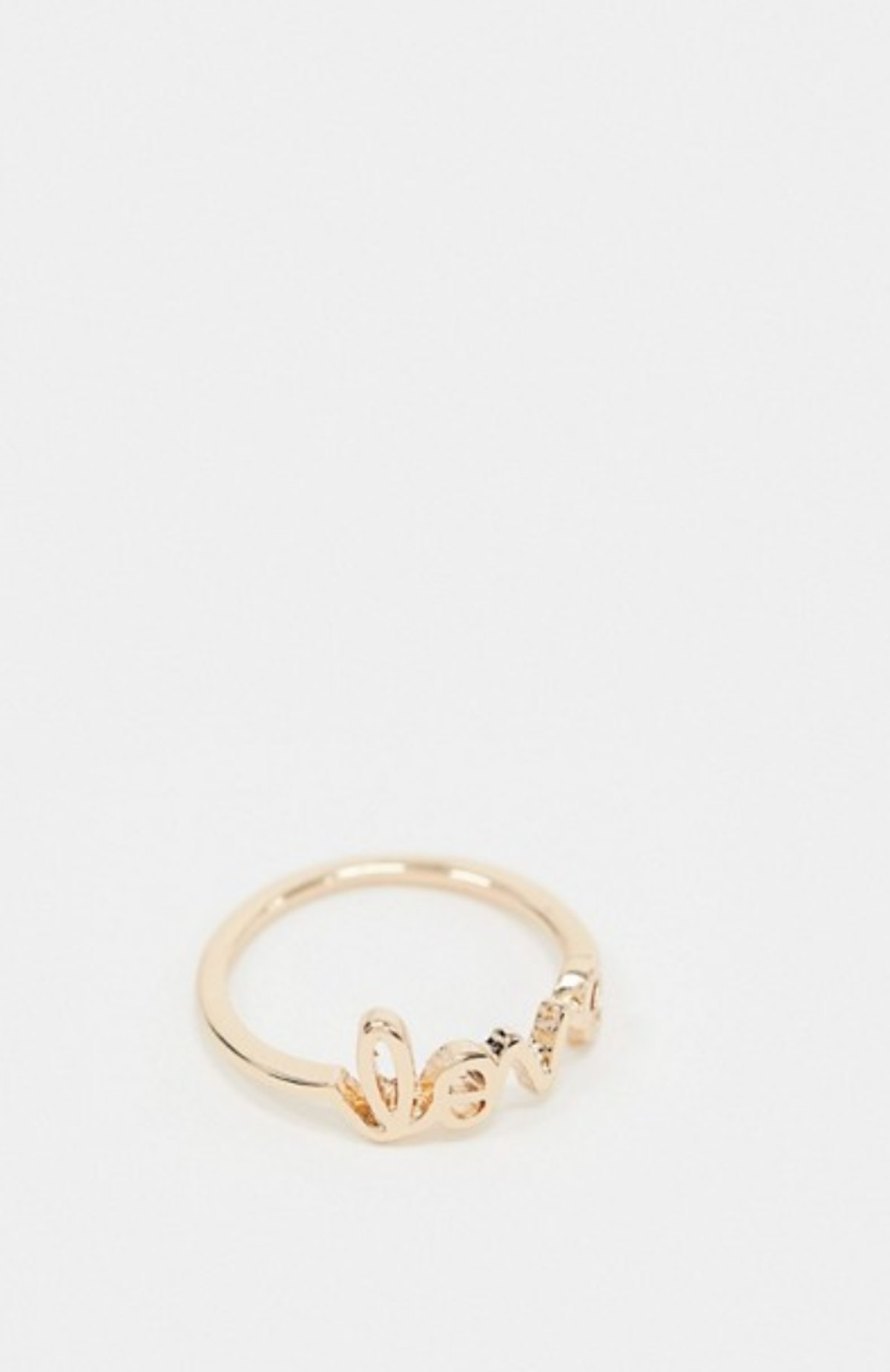 ASOS Pieces Valentines Love Ring In Gold