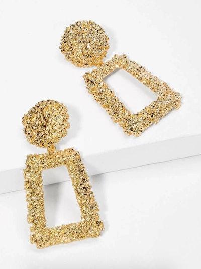 Romwe Open Rectangle Textured Drop Earrings