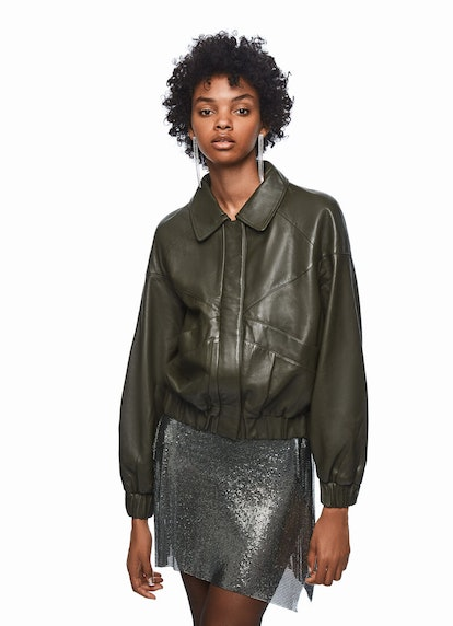 DUA LIPA X PEPE JEANS - Deep Green Leather Bomber