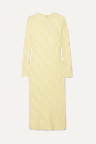 Dolores Bow-Detailed Striped Satin-Jacquard Midi Dress