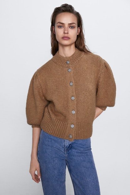 Jewel Button Wool Blend Jacket