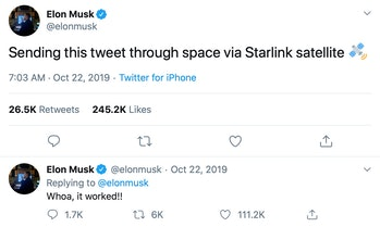 Elon Musk's Twitter post. The post may be the first tweet shared through SpaceX's developing Starlink internet service.