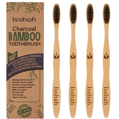 Biodegradable Natural Bamboo Charcoal Toothbrush by Isshah (4-pack)