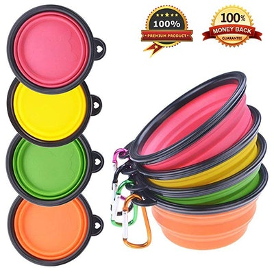 PetBonus Silicone Collapsible Dog Bowls (4-Pack)