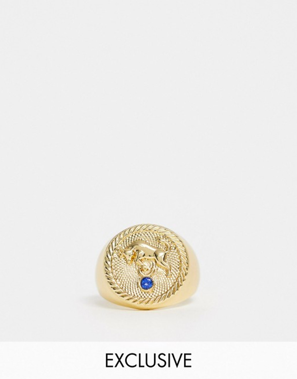 Reclaimed Vintage Inpired 14k Gold Plate Taurus Star Sign Coin Ring
