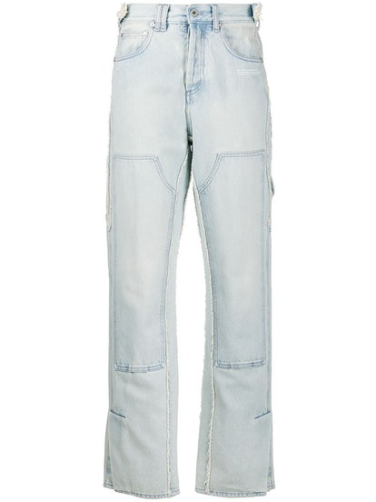 Patch Detail Straight Jeans