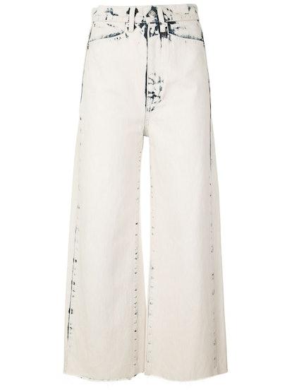 Bleached Wide Leg Crop Jeans