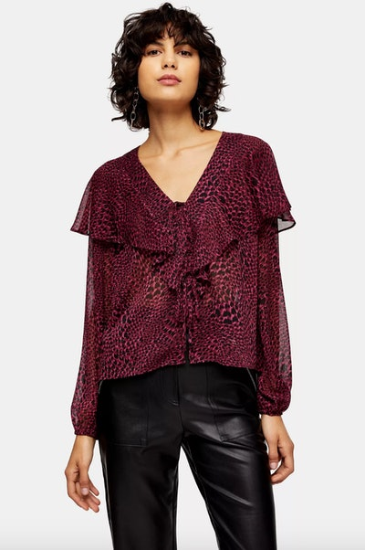 Heart Animal Print Tie Front Blouse