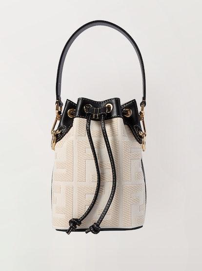 Mon Trésor Mini Leather-Trimmed Canvas Bucket Bag
