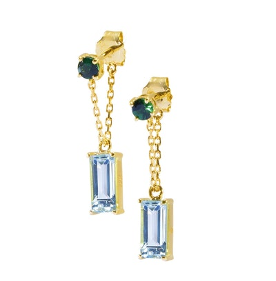 Tsavorite & Aquamarine Chain Earrings