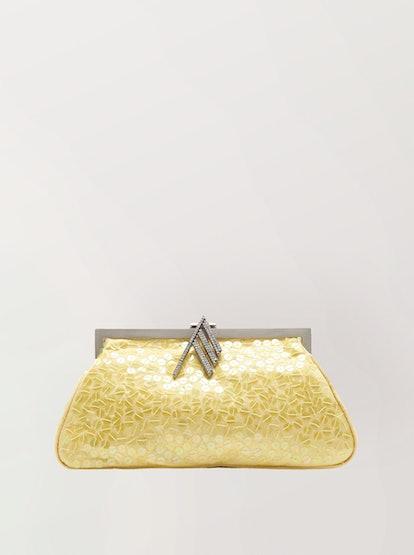 Alma Sequin-Embellished Iridescent Satin Clutch