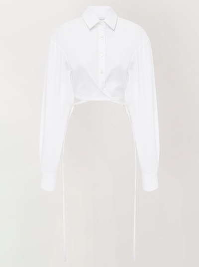 Cropped Tie-Detailed Cotton-Poplin Shirt