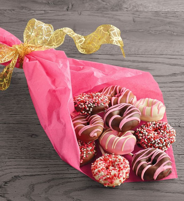 This donut bouquet includes 10 mini cake donuts for Valentine's Day.