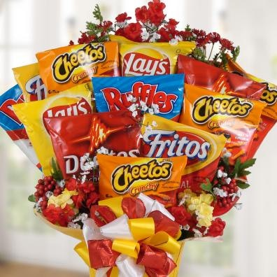 Bisket Baskets has savory food bouquet options like this chip bouquet with Fritos, Cheetos, and Doritos.